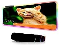 ゲーミングマウスパッド かわいい猫LEDライトデスクマットビッグコンピューターマウスパッドRGBバックライトキーボードカバーキーボードマウス滑り止めマウスパッド 400x900mm