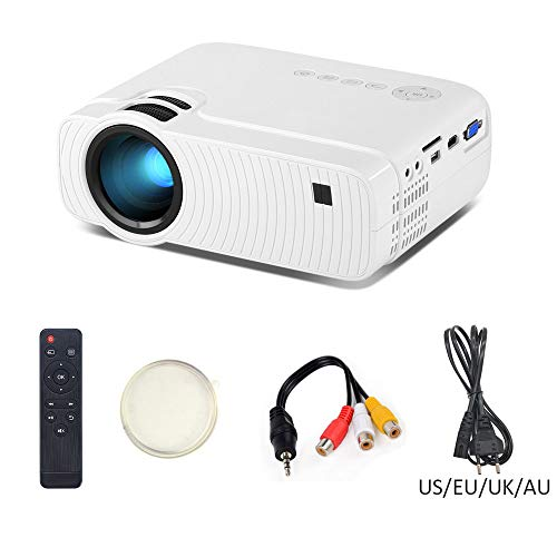 JASZW Tragbare Filmprojektor, 1280x720 150 Zoll LED-Mini-Micro Portable Video HD-Projektor für Home Entertainment Kompatibel mit PS4 / USB/HDMI/VGA/SD/AV