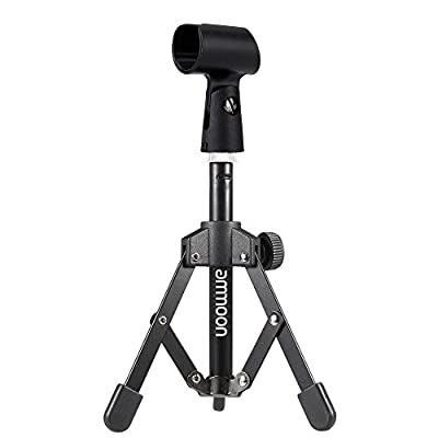 ammoon MS-12 Mini Folding Desktop Adjustable Microphone Tripod Stand with MC5 Mic Clip Stand Holder for Conferences Calls Podcasts