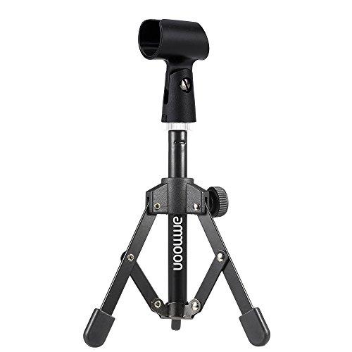 ammoon Treppiedi Microfono Stand per Scrivania e Tavolo Mini Pieghevole Nero MS-12 con MC5 Mic della Clip Supporto della Staffa