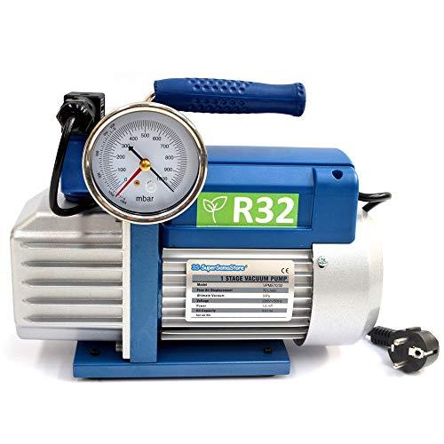 Pompa vuoto monostadio 70 Lt/min per impianti gas R32 R1234YF - vacuometro ed elettrovalvola