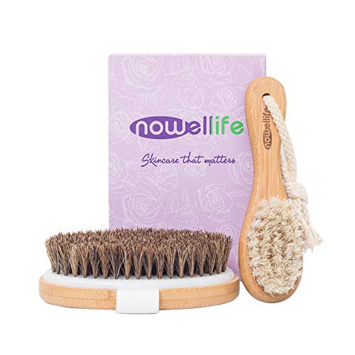 Dry Brush Set for Body and Face: Bamboo Body Scrubber Bath Brush for Dry and Wet Brushing, Facial Dry Brush, How to Guide - Horse Bristles Best for Dry Skin, Face and Body Exfoliation, Lymphatic Flow
