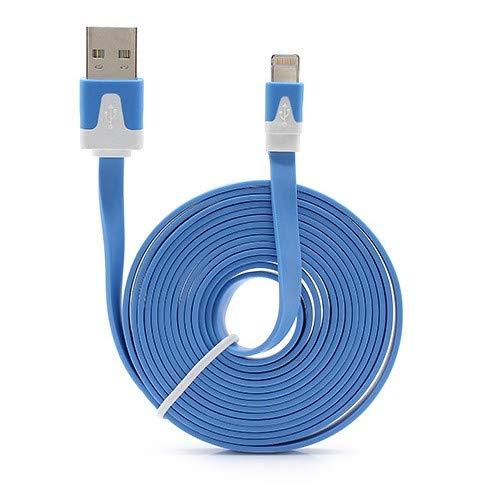Shot Case Noodle-kabel, 3 m, Lightning, voor iPod Nano Apple 3 m, USB-oplader voor smartphone, aansluiting (kleur blauw)