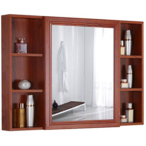GXFC Aluminium badkamer spiegelkast, badkamerkast voor wandmontage, gootsteen/wastafelkast organisator, imitatiehout, 100 x 70 x 13 cm