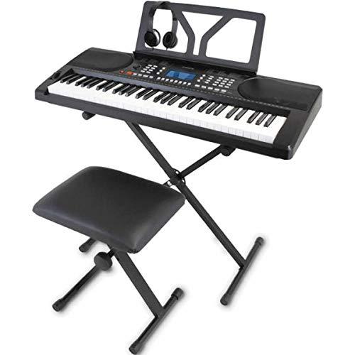 ONETONE ワントーン 電子キーボード 61鍵盤 初心者セット ピッチベンド搭載 日本語表記 OTK-61S (譜面立て 電源アダプター スタンド 椅子 ヘッドフォン付き) ブラック
