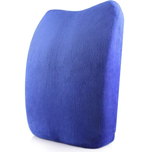 Joycaling Cojín lumbar ortopédico para silla de oficina, coche, asiento de viaje, corrección de postura (color: azul real)