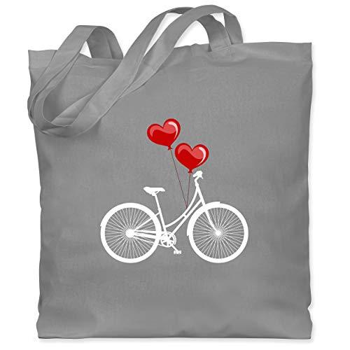 Shirtracer Statement - Fahrrad Herz Luftballons - weiß/rot - Unisize - Hellgrau - Herz - WM101 - Stoffbeutel aus Baumwolle Jutebeutel lange Henkel