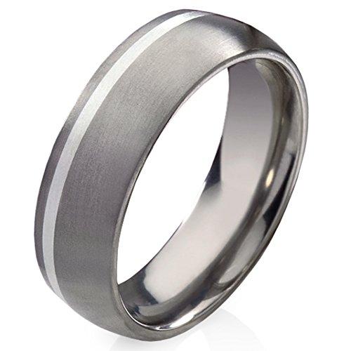 frencheis Titanring Verlobungsring Ehering Trauring Hochzeitsring aus Titan mit 925 Silber und Zirkonia Gravur T13H (60 (19.1))
