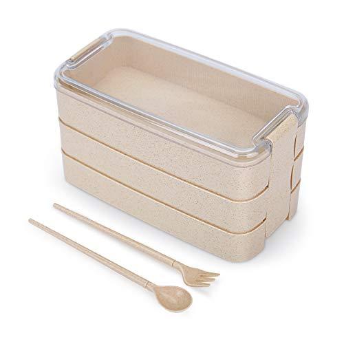 XLTOK Lunch Box, Bento Box, Anti-Fuite Écologique Bento, Blé Naturel 3 Compartiments 900ml Anti-Fuite Écologique Boîte de Conservation avec Fourchette, Cuillère pour Kids Adultes (Beige)