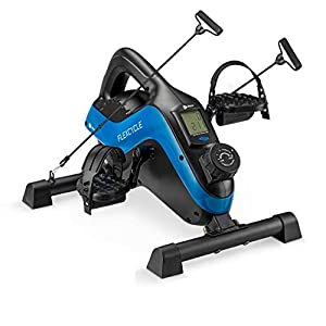 Under Desk Bike Pedal Exerciser - FlexCycle Exercise Bike Stationary Magnetic Cycle with LCD Monitor & Resistance Bands for Arm & Leg Recovery & Therapy - Foot Pedal Exerciser for Home & Office