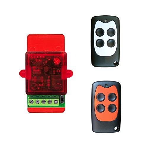 Pack 2 mandos a distancia abrepuertas con electrocerradura eléctrica de 12 a 24 V, se conecta directamente al botón de apertura sin necesidad de corriente
