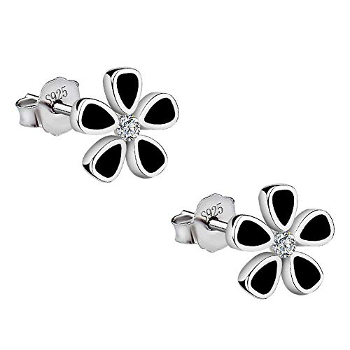 Meixao 925 Sterling Silver Black Paint Flowers CZ Crystal Stud Earrings for women Gift boxed (White)