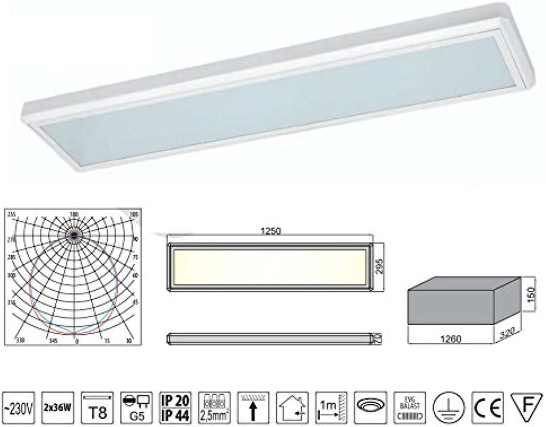 Bürolampe Aufbau Glas Rasterleuchte Deckenleuchte Neonlampe EVG 2 x 36W Opal Glas (mit 2 x 36W Tageslicht Leuchtmittel)