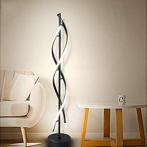 Lámpara de pie LED de diseño en espiral, moderna lámpara de pie para salón, vestíbulo, lámpara de pie de 48 W (negro)