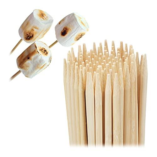 Relaxdays Pinchos de Madera de bambú, Juego de 300 brochetas de 40 cm de Largo, Varillas para malvaviscos, algodón de azúcar, 4 mm de diámetro, Color Natural, Naturaleza, 300er Set