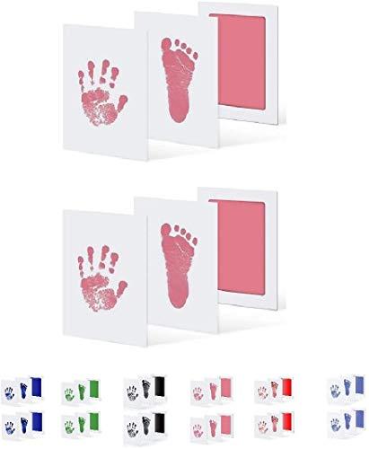 UAMITA 2 Tamponi per 4 Impronte di Mani e Piedi di Neonati da 0 a 6 mesi. L'impronta viene impressa senza alcun contatto tra il bambino e l'inchiostro (Rosa)