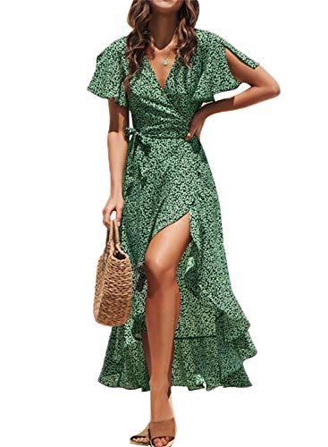 Fleur Wood Women's Short Sleeve V Neck Ruffle Floral Wrap Maxi Dresses Flowy Summer Boho Maxi Dress with Tie Belt Green