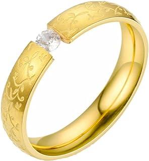 Gemcres 4mm Crystal Wedding Finger Rings Lovers Carved Flower Engagement Ring Vintage Plain Stainless Steel Ring Stackable...
