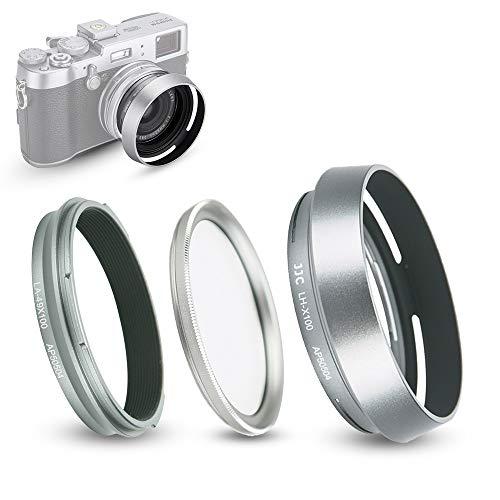 Parasol y Anillo Adaptador (con Filtro UV) para Fujifilm Fuji X100V, X100F, X100T, X100S, X100, X70 sustituye Parasol Fujifilm LH-X100