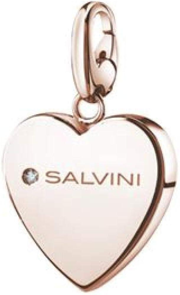 Salvini,ciondolo, charms of love a forma di cuore in argento placcato oro rosa(5,3 gr) con diamantino 0.01 ct 20073419