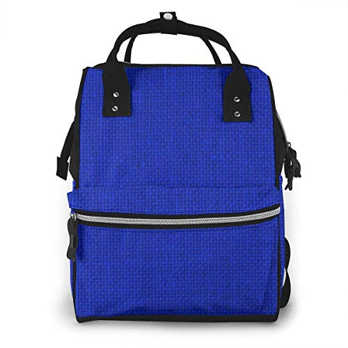 UUwant Sac à Dos à Couches pour Maman Large Capacity Diaper Backpack Travel Manager Baby Care Replacement Bag Nappy Bags Mummy Backpack,(Natural Woven Royal Blue Burlap Sack Cloth