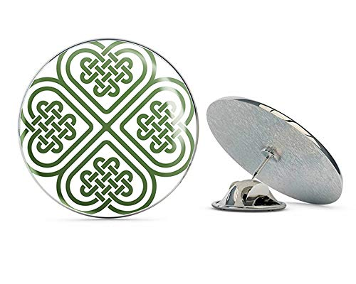 BRK Studio Celtic Knot Four Leaf Clover Round Metal 0.75' Lapel Pin Hat Shirt Pin Tie Tack Pinback