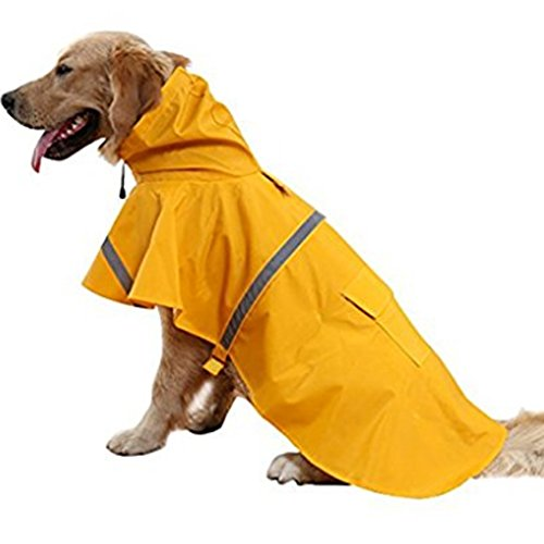 NACOCO Large Dog Raincoat Adjustable Pet Water Proof Clothes Lightweight Rain Jacket Poncho Hoodies...