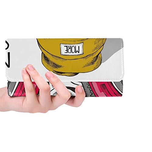 JOCHUAN Einzigartige Custom Basset Hound Dog Rote Brille Gelb Frauen Trifold Brieftasche Lange Geldbörse Kreditkarteninhaber Fall Handtasche