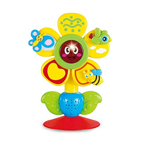 NOA Sunflower Musical Toy with Light Suction Cup High Chair Toy Baby Brain Development Educational Learning Toy Cartoon Rotate Bird Butterfly and Bee Build in 10 Music for Kids Age of 3 Months and Up