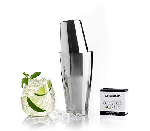 Cresimo Boston Shaker Cocktail Making Set:18oz Unweighted & 28oz Weighted Professional Bartender Cocktail Shaker Set