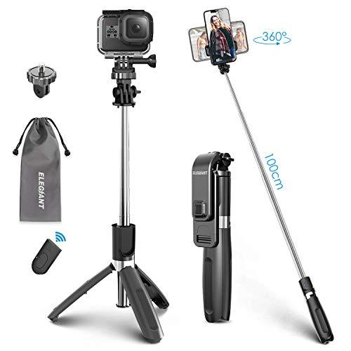 ELEGIANT Palo Selfie Trípode Bluetooth, Mini Stick Movil Deportivo Extensible de Control Remoto para Viaje Autofoto 3 en 1 Monopie con Obturador Rotación de 360 Grados para Cámara Gopro Android iOS