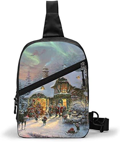 Santas Night Before Christmas - Bolsa de hombro cruzada para senderismo, viajes, bolsa de bolsillo personal para mujeres, hombres, resistencia al agua