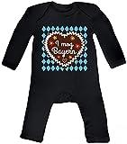 ShirtStreet Gaudi Wiesn Baby Strampler Langarm Schlafanzug Jungen Mädchen Oktoberfest - I mog Bayern, Größe: 12-18 Monate,Black