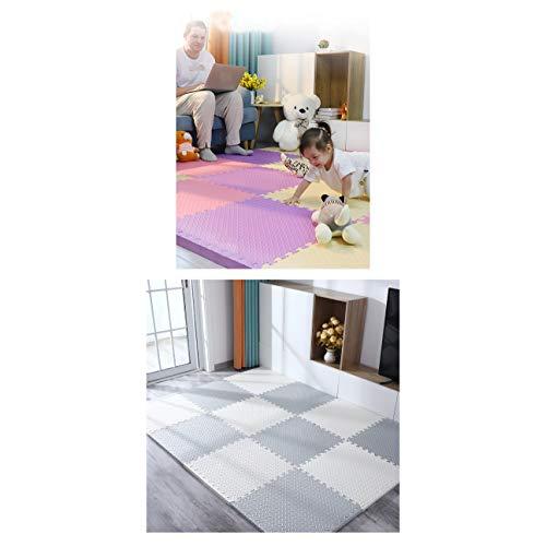 LXZFJW Azulejos de espuma de enclavamiento multiusos alfombra de piso con espuma EVA que enclava azulejos anti-fatiga bebé juego Mat-gris+blanco 60×60×2.5cm 4pcs