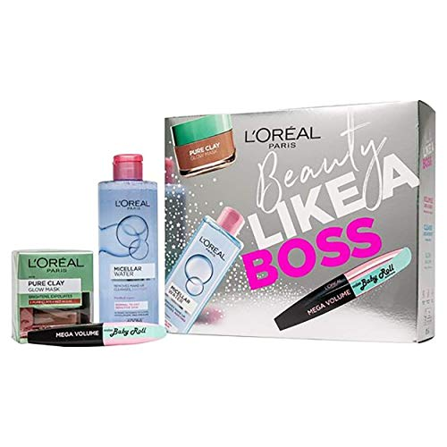 L'Oreal Paris Beauty Like A Boss Micellar Water, Face Mask and Mascara Beauty Gift Set For Her