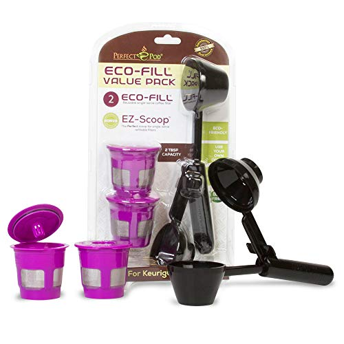 Perfect Pod ECO-Fill Reusable K-Cup Pod Filters and Coffee Scoop, Value Pack | Compatible with...
