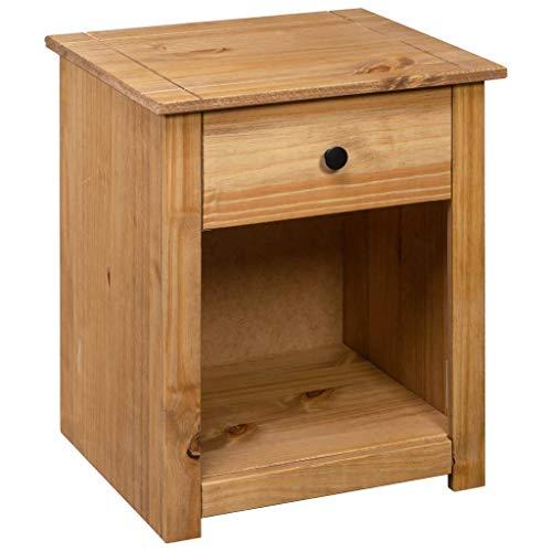 Festnight Nachttisch mit 1 Schublade und 1 Ablagefach Beistelltisch Nachtschrank Nachtkommode Telefontisch Lampentisch für Schlafzimmer 46 x 40 x 57 cm Massivholz Panama-Kiefer