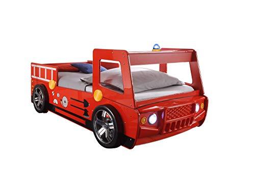 Jugendmöbel24.de Autobett Löschi Feuerwehr 90 * 200 Rot mit LED-Beleuchtung Holz MDF Truck Spielbett Kinderzimmer Bett Einzelbett Kinderbett