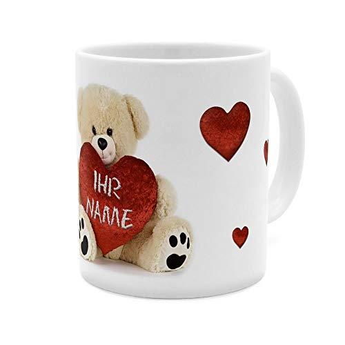 printplanet - Tasse mit Namen personalisiert - Motiv: Teddy mit Herz - individuell gestalten - Farbvariante Weiß