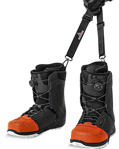 Athletrek Ski Boot & Snowboard Boot Carrier Straps | Adjustable Easy Carry Strap for Adult & Youth| Use Over Shoulder to Free up Hands | Perfect Ski Snow Winter Gear Accessory (Snowboard Boot Strap)