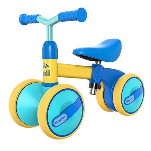 Gonex Baby Balance Bikes Bicycle Children Walker for 10-36 Month Boys Girls, Height Adjustable Toddler Ride for 1-3 Year Old, No Pedal 4 Wheels Infant Bike First Birthday Gifts (Blue)