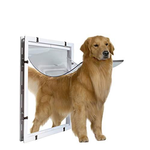 YUEBAOBEI Katzenklappe Hundeklappe Haustierklappe,Schließsystem, Robust, Isolierend,Installieren Leicht Aufhängungsmethode, Mit Eisen ABS-Türrahmen, PVC Zugangstür,Weiß,XL
