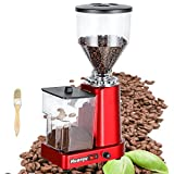 Huanyu Coffee Grinder Electric Flat Burr Grinding Machine Automatic Mill 35oz Coffee Bean Grinder with 19 Adjustable Grind Settings 36 Cups Professional Miller for Drip, Percolator, French Press, Espresso and Turkish Coffee 200W Cleaning Brush Included (110V, Red with Powder Box)