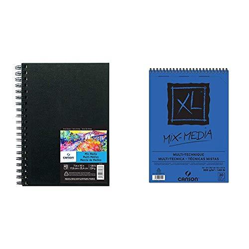 Canson Cuaderno con Espiral, 0, 7' x 10' + Spiral Microperforado, A4, 30 Hojas, XL Mix Media, Grano Texturado 300g