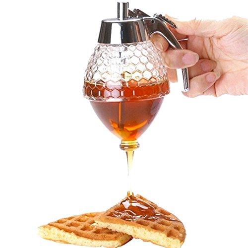 Distributeur de miel - 200 ml - Bouteille/bocal en acrylique - Avec socle