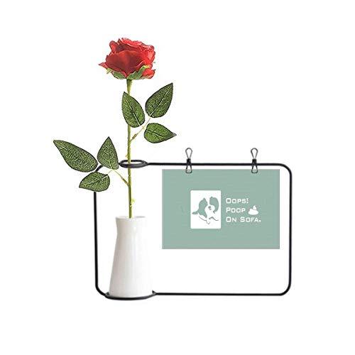 OFFbb-USA Playful Shephered Dog Coop Sofá Artificial Rosa Flor Colgante Jarrones Decoración Botella