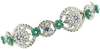 Bracciale Oro Bianco, Diamanti, Zaffiri e Agata Verde