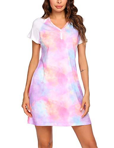 Ekouaer Women's Nightgown Short Sleeve Sleepshirt Comfy Sleep Dress Contrasting Trim Nightshirt