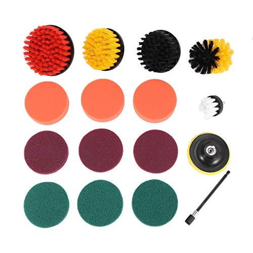 Tiamu Drill Brush Set, Extend Long Attachment, Scrub Pads, Sponge, Power Scrubber Cleaning Kit for Grout, Tile, Carpet, Sink, Bathtub, Bathroom, Shower, Tub, Kitchen, Car, Pool, Boat