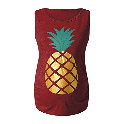 ▷SuperSU Umstands◁ Damen Sommer Ärmellos Ananas Print Mutterschaft Seite Geraffte T-Shirt Tops Schwangerschaft Kleidung,Mama Umstandsmode Casual Umstands Umstandstop Umstandsshirt